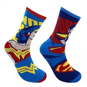 DC Comics Superman Wonder Woman Reversible Crew Socken
