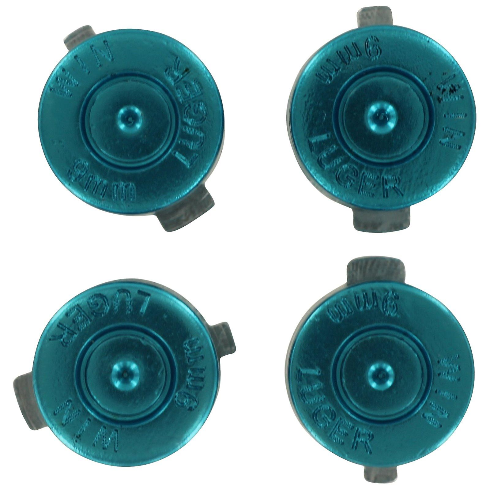Aluminium metal action bullet button set for sony ps4 controllers - blue