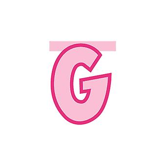 Linking Banner 20cm Pink Letter - G Party Decoration