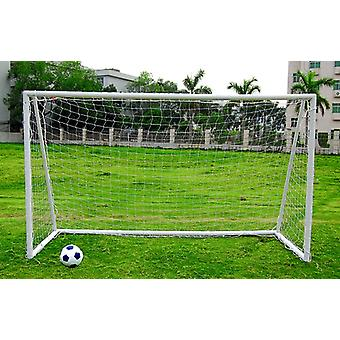 Charles Bentley Junior Portable Football Goal Inc Net Clips & Ground Pegs - Easy Clip Together Structure in White - 12X6Ft