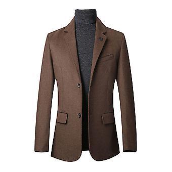 Allthemen Men's A due pulsanti Slim Fit Cappotto casuale