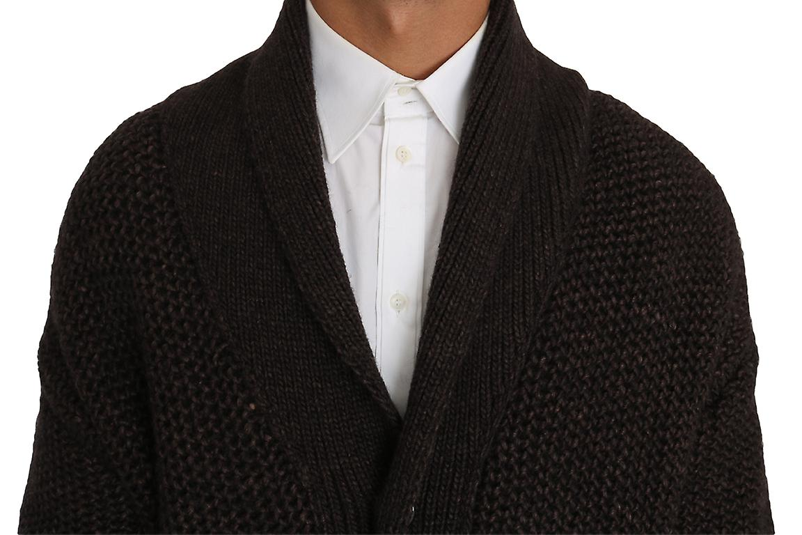 Brown Knitted Wool Button Cardigan Sweater