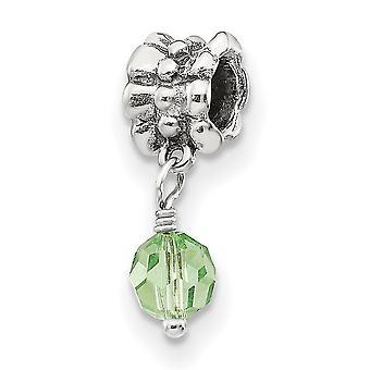925 Sterling Silber poliert Finish Reflexionen SimStars grün baumeln Perle Anhänger Anhänger Halskette Schmuck Geschenke für Wome