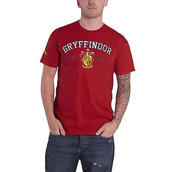 Harry Potter T Shirt Gryffindor House Crest Applique Logo Official Mens Maroon