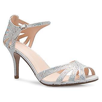 OLIVIA K Women's Sexy Sparkling Rhinestone Glitter Open Toe Mid Heel Sandals ...