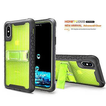 Yellow Honeycomb For iPhone XS,X Case,Armour Phone Cover,KickStand