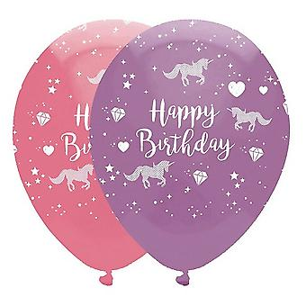 Creative Party Latex Balloons Happy Birthday Unicorn Fantasy (Pack of 6)