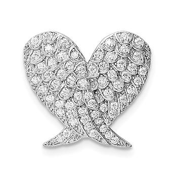 925 Sterling Argent Rhodium plaqué Poli CZ Cubic Zirconia Simulated Diamond Love Heart Wing Chain Slide Bijoux Cadeau