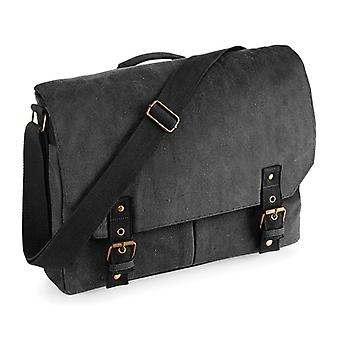 Vintage Canvas Satchel Messenger - svart