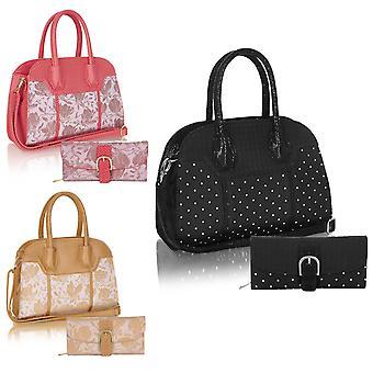 روبي شو المرأة & s ليما أعلى مقبض حقيبة ومطابقة محفظة كومو