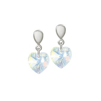 Eternal Collection Amour Aurora Borealis Crystal Heart Silver Tone Drop Clip On Earrings