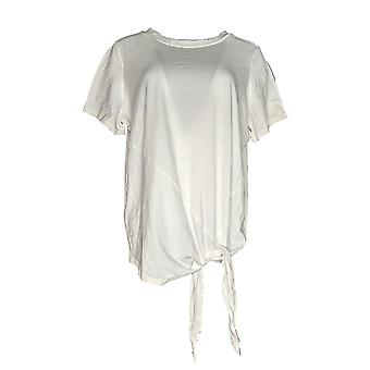 Anybody Women's Top Loungewear Cozy Knit Tie Front Top White A345630