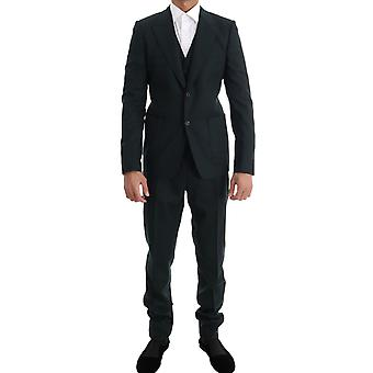 Dolce & Gabbana Green Wool Stretch Slim Two Button Suit