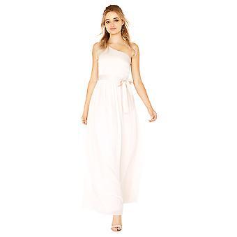 Little Mistress Womens/Ladies Pearl One Shoulder Satin Top Maxi Dress