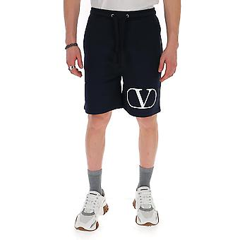 Valentino Tv3md02d63wnb4 Men's White/blue Cotton Shorts