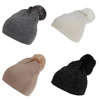 Rock Jock Womens/Ladies Winter Hat With Faux Fur Pom Pom