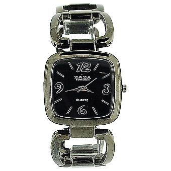 Zaza London Analogue Ladies Black Dial Gun Metal Square Link Fashion Watch LC02