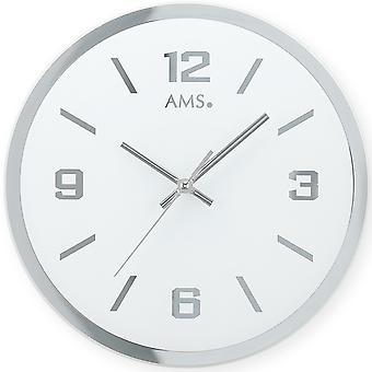 AMS 9322 Seinäkello Kvartsi analoginen hopea pyöreä hiljainen ilman rasti lasi