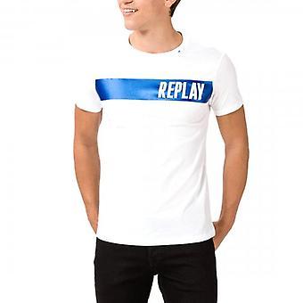 Reprodução logotipo imprimir t-shirt branca M3024