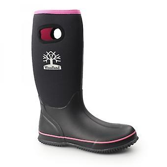 Woodland Pull On Plain Neoprene Ladies Wellington Boots Black