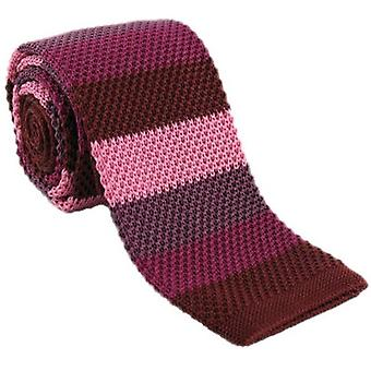 Michelsons Londra Çizgili Skinny İpek Örme Kravat - Kırmızı