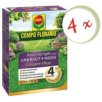 Sparset: 4 x COMPO Floranid® lawn fertilizer against weeds + moss complete care, 4.5 kg