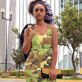 Slim Fit Dress | Light Green Camouflage