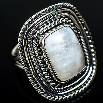 Large Rainbow Moonstone Ring Size 7 (925 Sterling Silver)  - Handmade Boho Vintage Jewelry RING11642