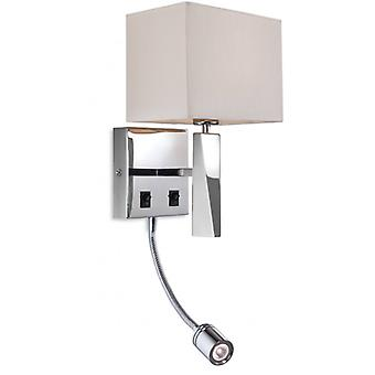 Mansion Wall Lamp With Reading Light, Cream Shade