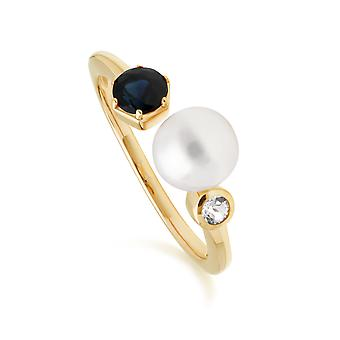 Modern Pearl, Sapphire & Topaz Open Ring en or plaqué Sterling Argent 270R058601925