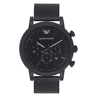 Armani Ar1968 Black Ip Stainless Steel Mesh Chronograph Men's Montre