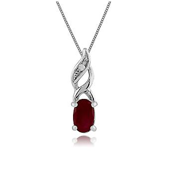 Classic Soikea Ruby & Diamond riipus kaulakoru 9ct White Gold 117P0104029