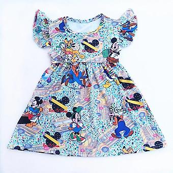 Summer short sleeve Mickey Mouse milk silk dress