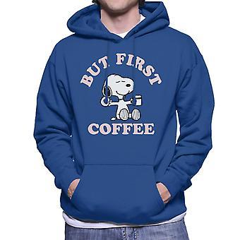 Maapähkinät mutta ensimmäinen kahvi Snoopy miesten ' s huppari