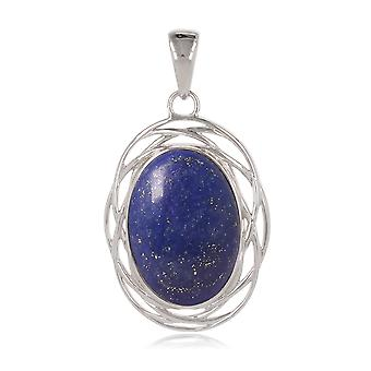 ADEN 925 Sterling Argent Lapis Lazuli Oval Shape Pendentif Collier (id 4405)