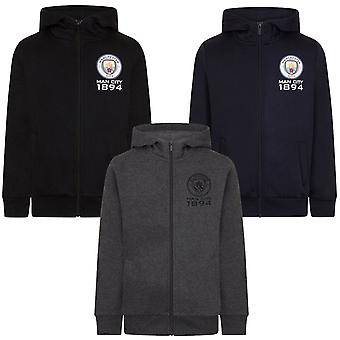 Manchester City FC Official Football Gift Boys Fleece Zip Hoody