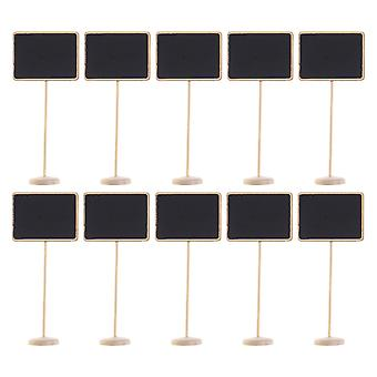 10PCS En bois Mini Stand Tableau noir Décoration Rectangle en forme de rectangle