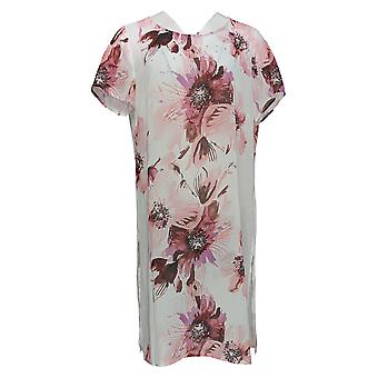 Susan Graver Women's Regular Top Printed Sheer Chiffon Tunic Pink A352224