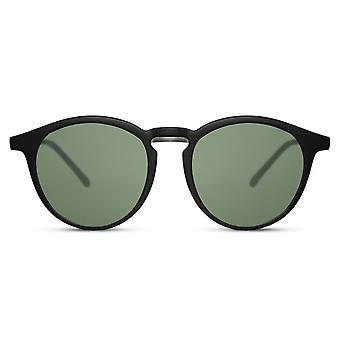 Sunglasses Unisex panto full-edged cat. 3 matt black/green