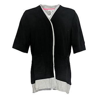 Isaac Mizrahi Live! Donne's Elbow Sleeve Layered Cardi w/Pkts Nero A378537