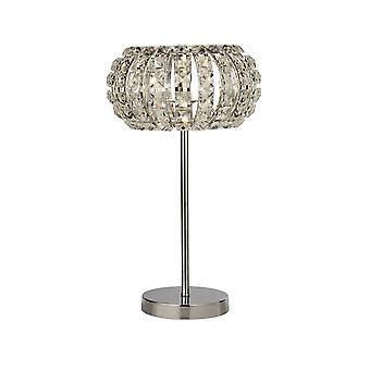 Searchlight MARILYN - 1 lekka chromowana lampa stołowa ze szkłem kryształowym, dyfuzor kryształowy piasek