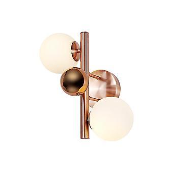 Luminosa Lighting - Væglampe, 2 x G9, antik kobber, opal og kobberglas