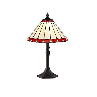 1 Light Octagonal Table Lamp E27 With 30cm Tiffany Shade, Red, Crystal, Aged Antique Brass