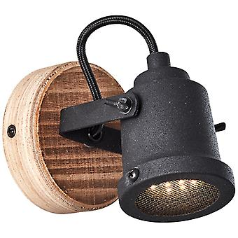 BRILLIANT Inge muur spot hout donker / zwart interieur lichten, spotlight, muur | 1x PAR51, GU10, 6W, geschikt voor reflectorlampen