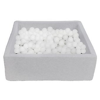 Poço de bola quadrada 90x90 cm com 200 bolas brancas