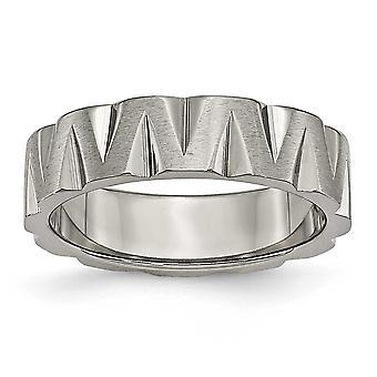 Titanium Graveable Gepolijst en satijn Notched 6mm Satin en Polised Band Ring Sieraden Geschenken voor vrouwen - Ring Size: 6 tot
