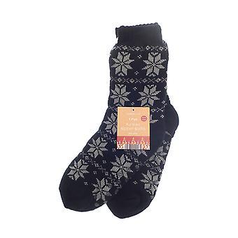 Country Club Nordic Slipper Socks, Black