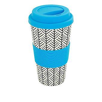Wiederverwendbare Kaffeetasse - Bambus Faser Reisebecher mit Silikondeckel, Ärmel - 400ml (14oz) - geometrische - blau