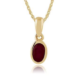 klassisk oval rubin anheng halskjede i 9ct gult gull 183P1120039