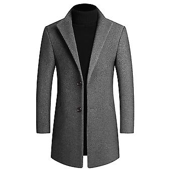 YANGFAN Mens Two Buckles Thicken Overcoat Solid Color Mid Long Jacket Coat